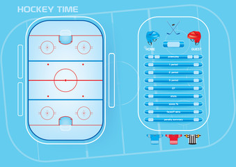 Ice hockey rink,game elements,icons,score board vector