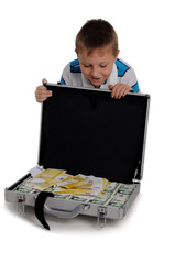 Young boy with a money briefcase