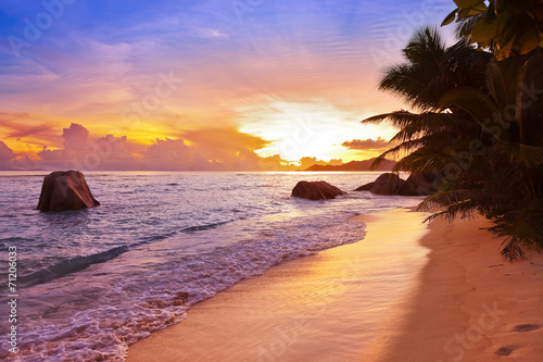 canvas print picture Sunset on beach Source D'Argent at Seychelles