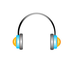 Isolated metallic headphones eps10 vector illustration