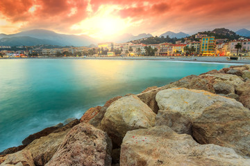 Beautiful cityscape and bay,Menton,Azur Coast,France,Europe