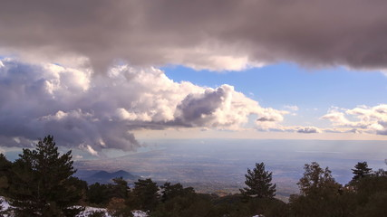 Clouds, view from the slopes of Etna. Sicily, Italy. TimeLapse.