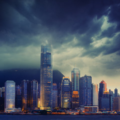 Hong Kong cityscape in stormy weather - amazing atmosphere