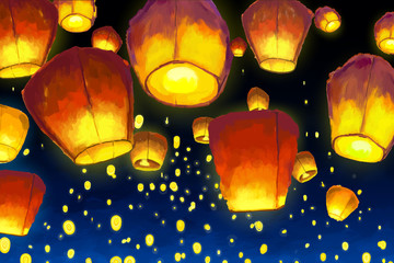 Floating lantern in night sky