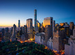 New York city - sunrise over central park and Manhattan