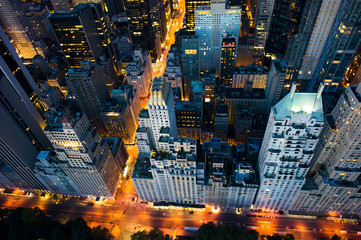 New York city - sunrise over central park and Manhattan