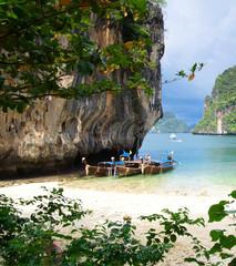 boats on tropical island
