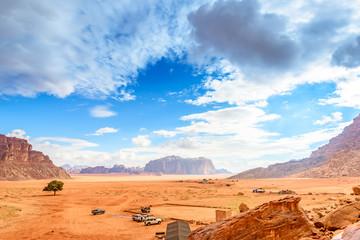 Scenic Jordanian desert in Wadi Rum, Jordan