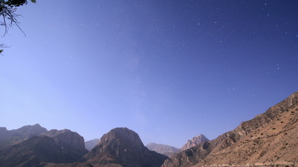 Night over the mountains. Tajikistan, Iskander-Kul. Time Lapse