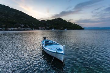 Small fishing boat at sunset - Mljet Island, Croatia