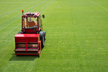 Sowing grass in the football stadium
