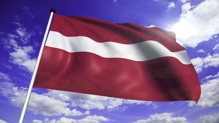 flag of Latvia with fabric structure against a cloudy sky