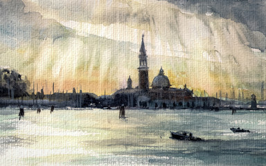 Sunset in Venice.Picture created with watercolots.