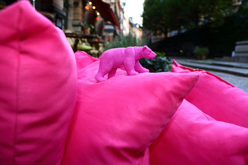 urban landscape with pink bear