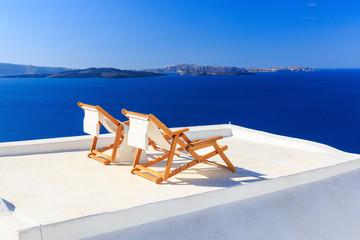 Deck chairs, Santorini Greece