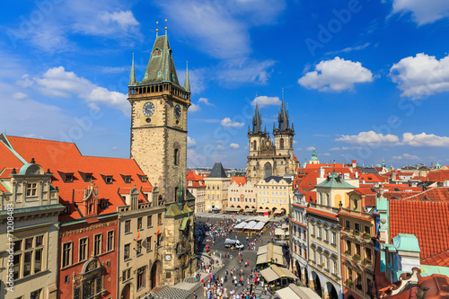 Tuinposter Praag Tyn Cathedral & Clock Tower, Prague Czech Republic