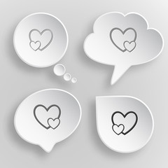 Careful heart. White flat vector buttons on gray background.