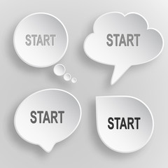 Start. White flat vector buttons on gray background.