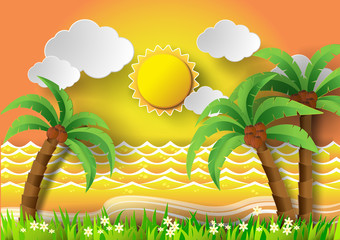 Coconut trees on the beach and sun .vector illustration.