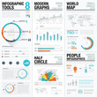 Human and people infographic vector elements in blue & red color