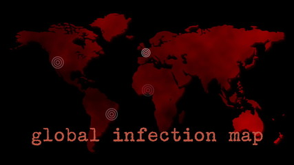 Red Global Infection Map Epidemic