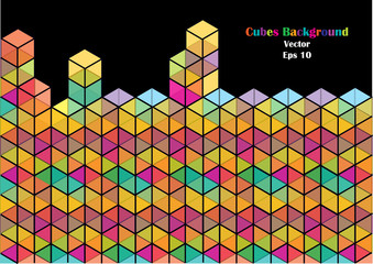 color dimensional cubes background