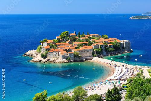 Poster Oost Europa Sveti Stefan island in Budva, Montenegro