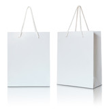 white paper bag on white background - 71209275