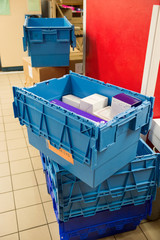 Medicine boxes in hospital pharmacy