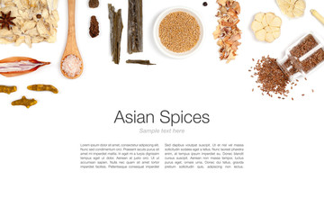 asian spices on white background
