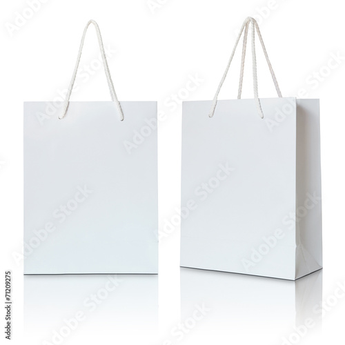 white paper bag on white background - 71209275