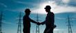 Leinwandbild Motiv electricity station handshake