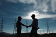 Leinwanddruck Bild - electricity station handshake