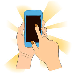 Vector illustration of hands holding smartphone and touching the