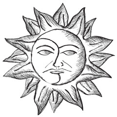 vector sun and moon face sketch