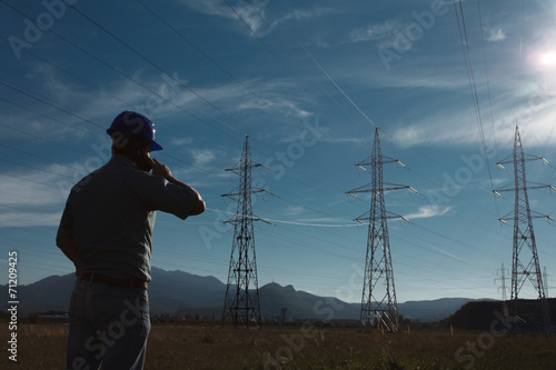male worker at electricity station - 71209425