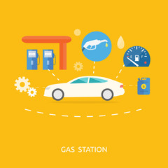 Car in gas station. Fuel petrol dispenser pump handles