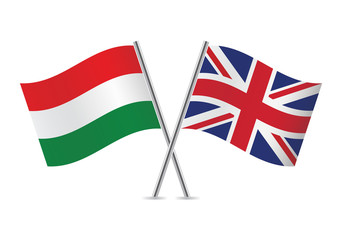 British and Hungarian flags. Vector illustration.