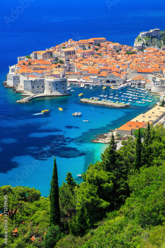 Leinwanddruck Bild The walled city of Dubrovnik, Croatia