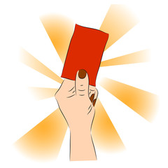 Hand of a judge or referee showing red card vector images