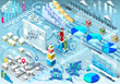 Isometric Infographic Set Winter Elements in Various Colors