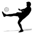 silhouettes of soccer players with the ball. Vector illustration