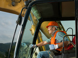 Fototapety happy excavator driver