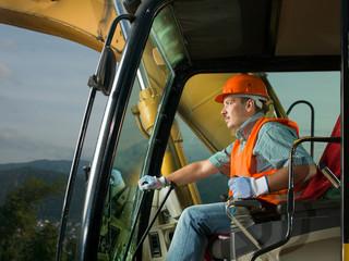 happy excavator driver