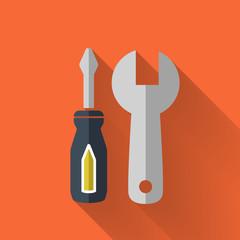 colorful flat design tool set icon