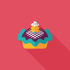 Christmas pie flat icon with long shadow,eps10