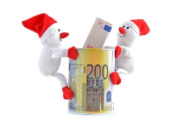 Weihnachtsmann - Schneemann mit  Euro