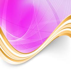 Pink folder background golden border swoosh