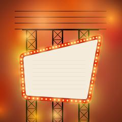Retro cinema theater bright bulb sign