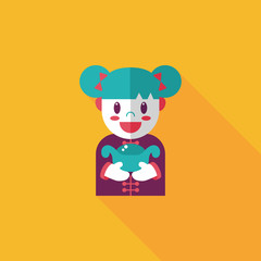 Chinese New Year girl flat icon with long shadow,eps10